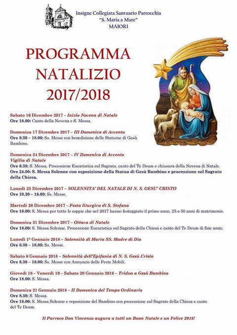 """Programma Natalizio  2017/2018  Collegiata  """"S. Maria a Mare"""" Maiori"""