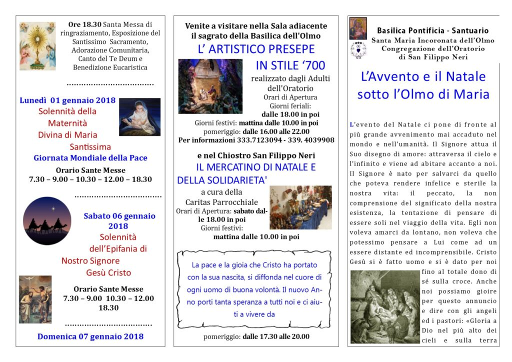 Programma – Natalizio Basilica Pontificia Santa Maria Incoronata dell'Olmo 2017 – 2018