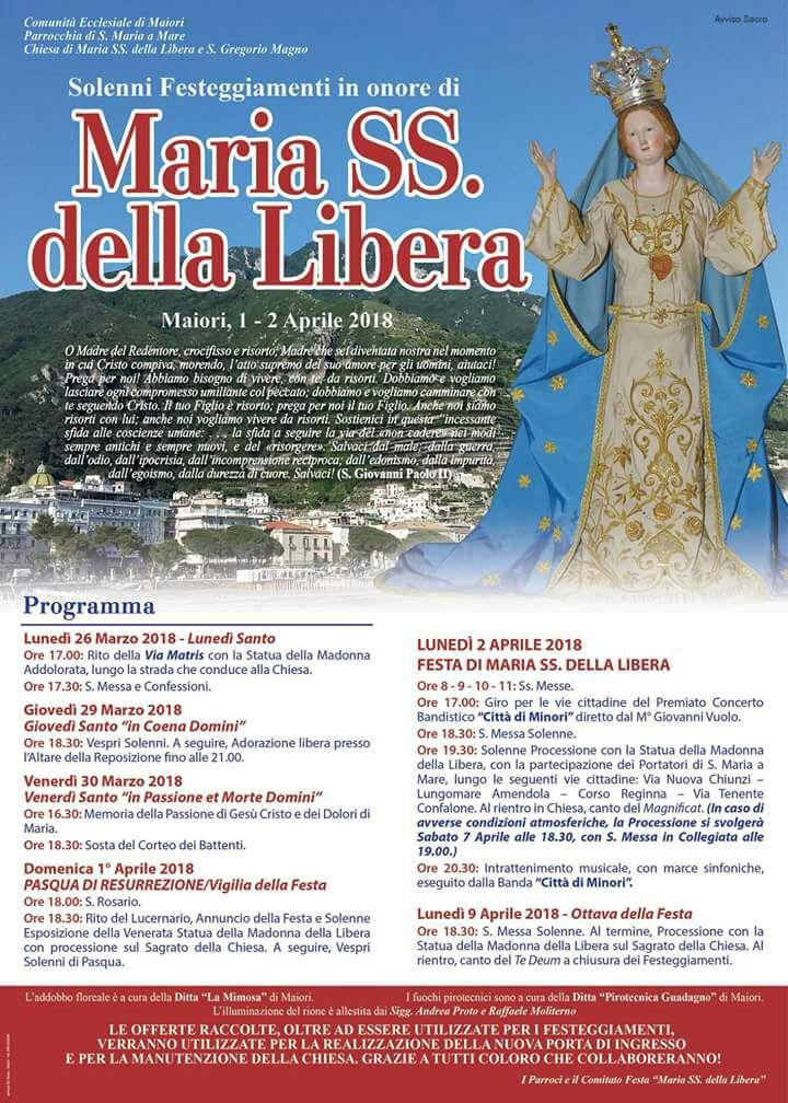Maiori – Solenni Festeggiamenti in Onore di Maria SS. della Libera «  Arcidiocesi di Amafi – Cava de' Tirreni