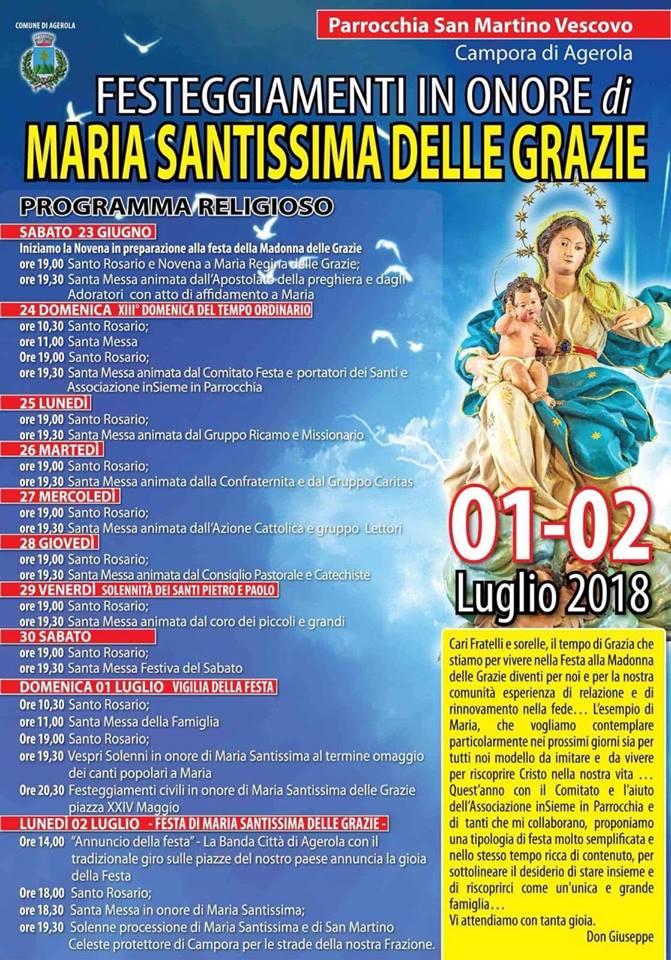 Parrocchia San Martino Vescovo- Campora di Agerola  Festeggiamenti in onore di Maria Santissima delle Grazie