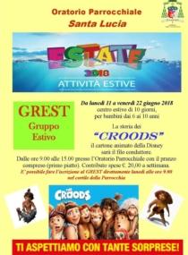 """Grest 2018 La storia dei """"Croods""""  Parrocchia S. Lucia V. M."""