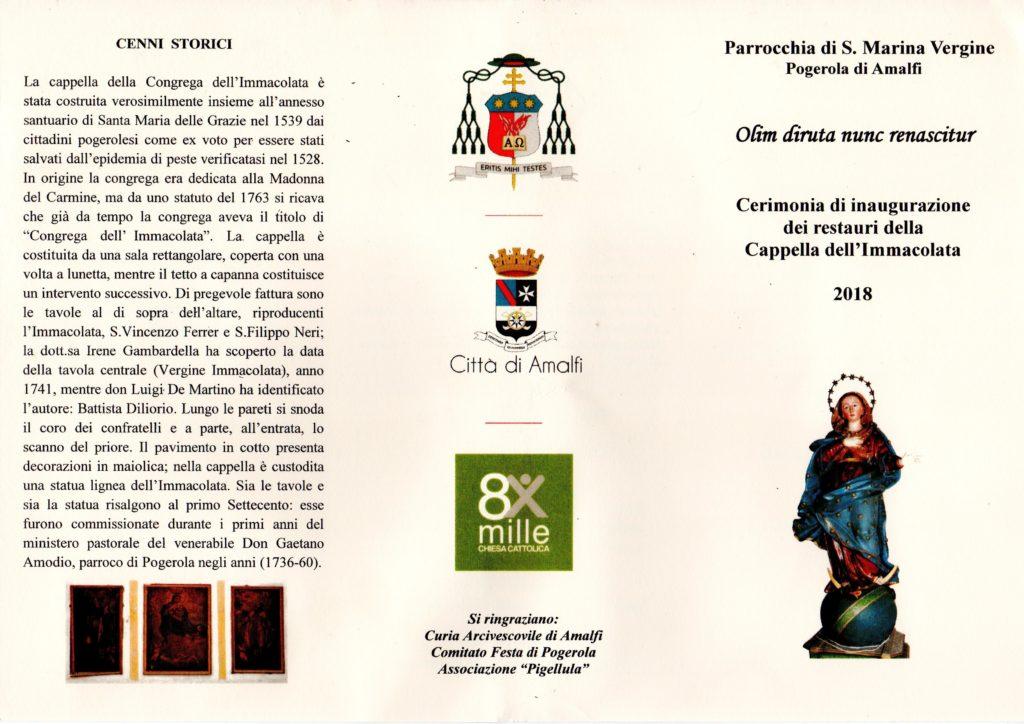 Parrocchia di S. Marina Vergine Pogerola – Cerimonia di inaugurazione