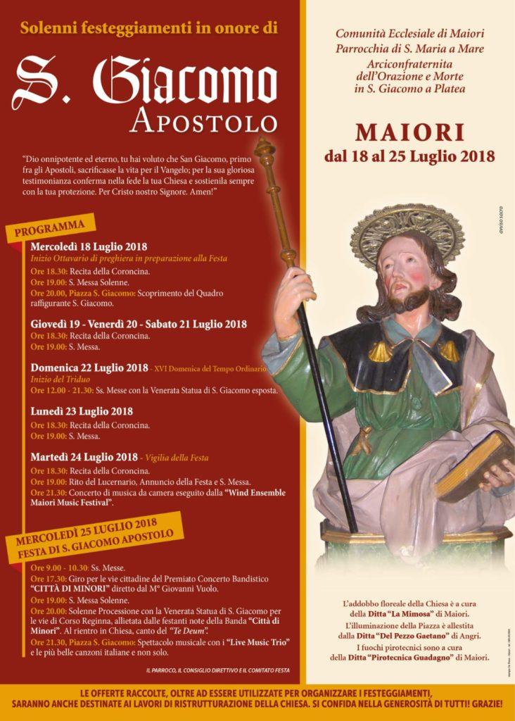 Solenni Festeggiamenti in onore di S. Giacomo Apostolo – Maiori, dal 18 al 25 Luglio 2018