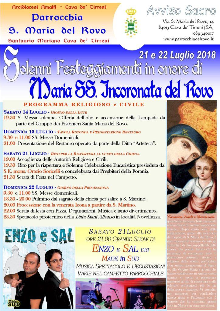 Parrocchia S. Maria del Rovo Solenni-Festeggiamenti in onore di SS. Incoronata del Rovo
