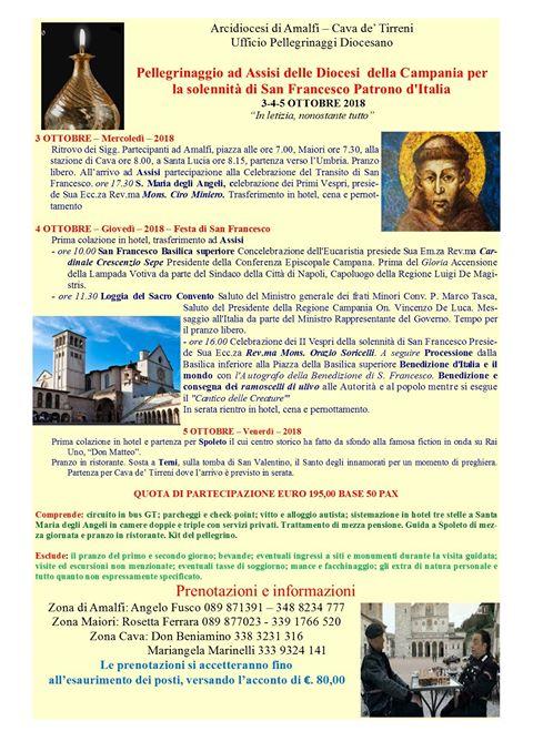 Pellegrinaggio ad Assisi – Spoleto – Terni 3 – 4 – 5 ottobre 2018