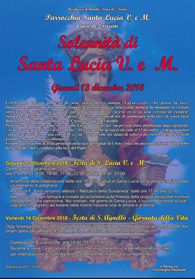 Parrocchia Santa Lucia – Solennità di Santa Lucia V. e M