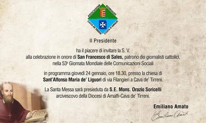 Messa in onore di San Francesco di Sales Patrono dei giornalisti cattolici