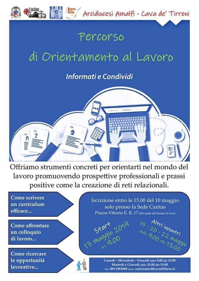 """La Caritas Diocesana di Amalfi – Cava de' Tirreni, la Pastorale Sociale e del Lavoro e il Progetto Policoro, organizzano  """"Percorso di Orientamento al Lavoro"""""""