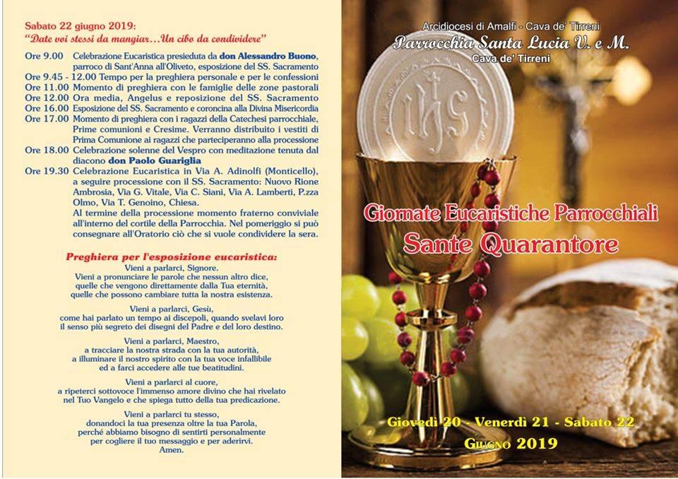 Parrocchia Santa Lucia V.e M. – Giornate Eucaristiche Parrocchiali Sante Quarantore