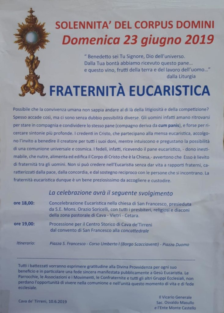 Solennità del Corpus  Domini Fraternità Eucaristica