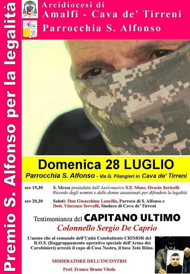 Parrocchia S. Alfonso Maria De' Liguori Premio per la legalità, testimonianza del capitano ultimo – Colonnello Sergio de Caprio