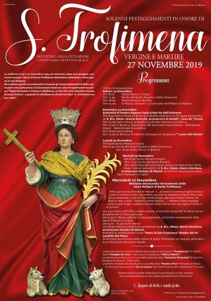 Comunità Ecclesiale di Minori Solenni – Festeggiamenti in onore di S.Trofimena Vergine e Martire