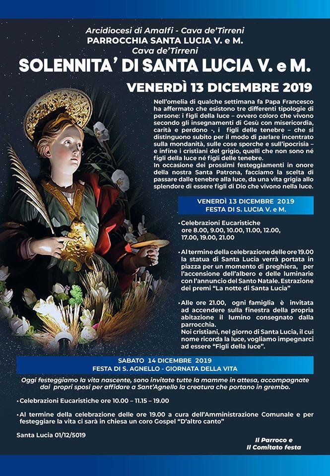 Parrocchia Santa Lucia V.eM. –  Solennità di Santa Lucia