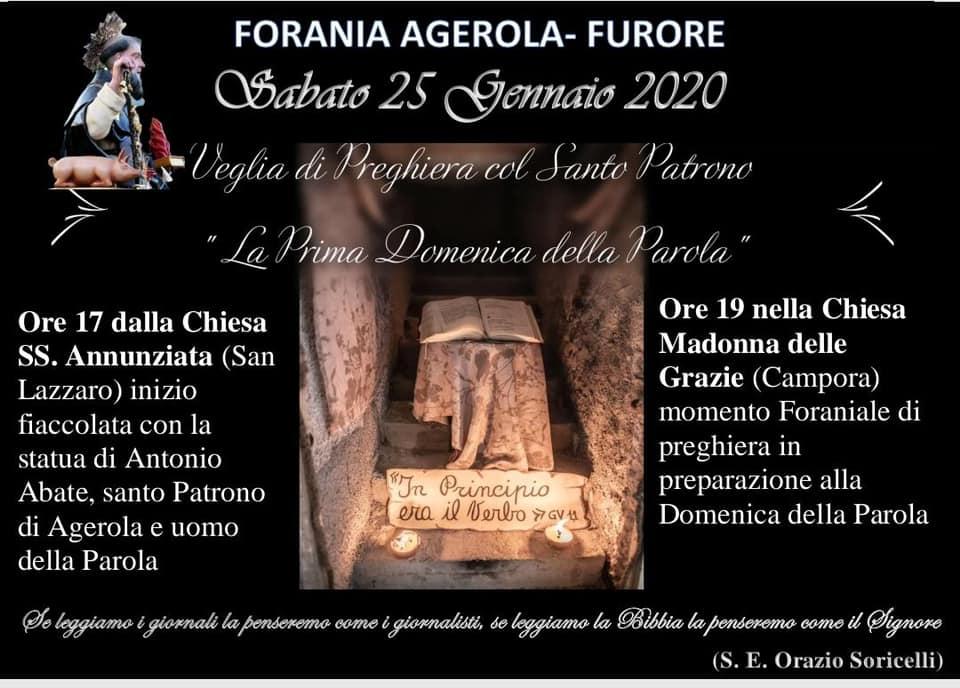"""Forania Agerola – Furore Veglia di Preghiera col Santo Patrono  """"La Prima Domenica della Parola"""""""