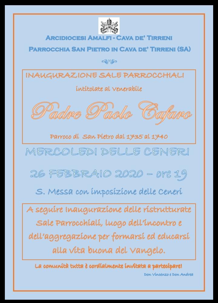 """Parrocchia San Pietro Inaugurazione sale parrocchiali """"Intitolate al venerabile Padre Paolo Cafaro"""""""
