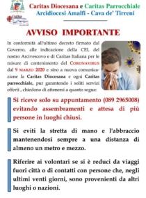 Disposizione per i Servizi Caritas in merito al contenimento del Coronavirus
