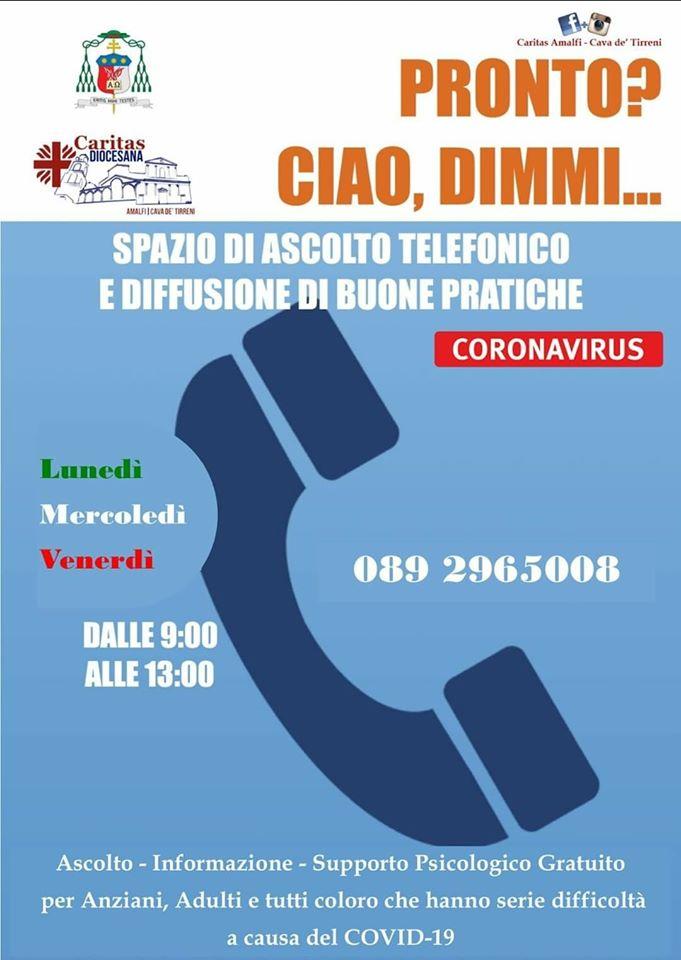 La Caritas diocesana di Amalfi – Cava organizza uno spazio di ascolto telefonico per essere vicina ad anziani, giovani e adulti