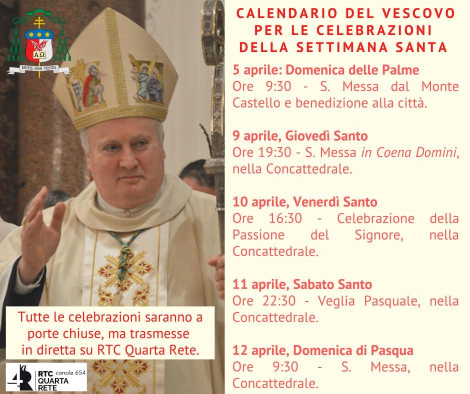 Arcidiocesi Amalfi – Cava de'Tirreni  Calendario del Vescovo per le celebrazioni della Settimana Santa