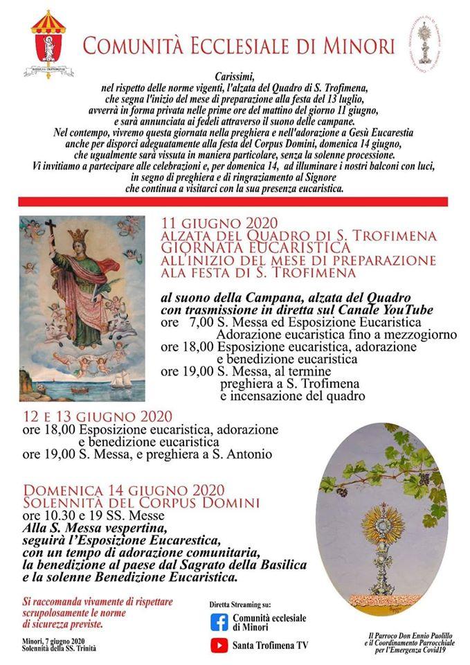 Comunità Ecclesiale di Minori – Alzata del Quadro di S. Trofimena Giornata Eucaristica