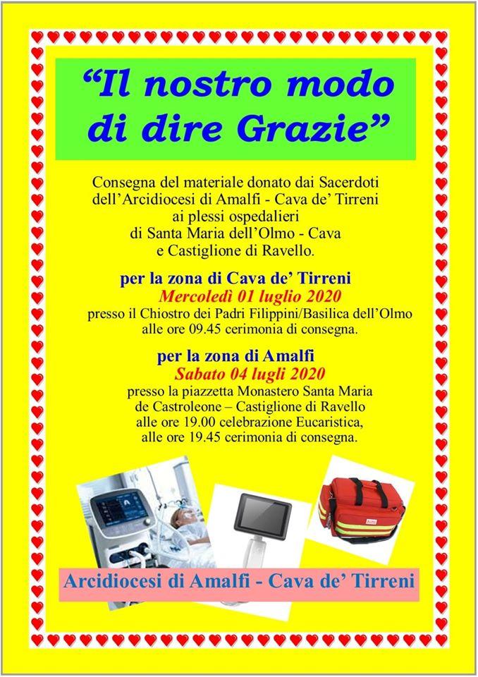 """Arcidiocesi Amalfi – Cava de'Tirreni  """"Il nostro modo di dire Grazie"""""""