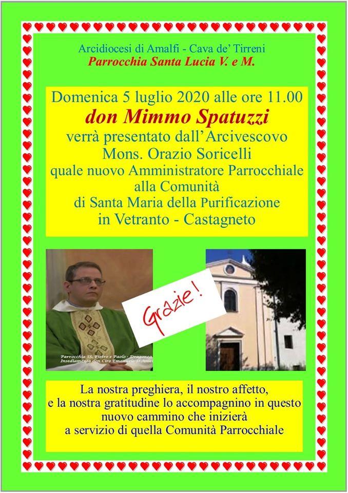 Don Mimmo Spatuzzi  nuovo amministratore parrocchiale Santa Maria della Purificazione – Castagneto