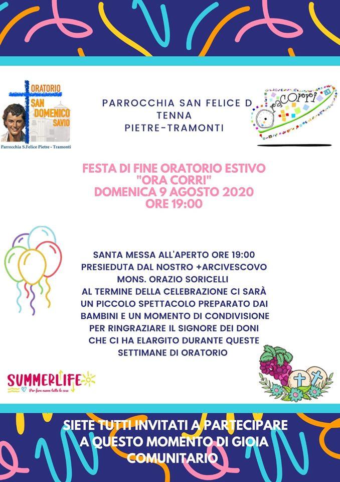 """Parrocchia San Felice di Tenna Pietre – Tramonti Festa di fine Oratorio Estivo """"Ora Corri"""""""