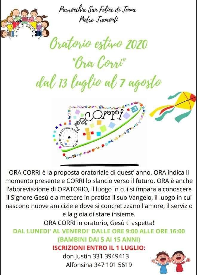 """Parrocchia San Felice di Tenna Pietre – Tramonti """"Ora Corri"""" Oratorio estivo 2020"""