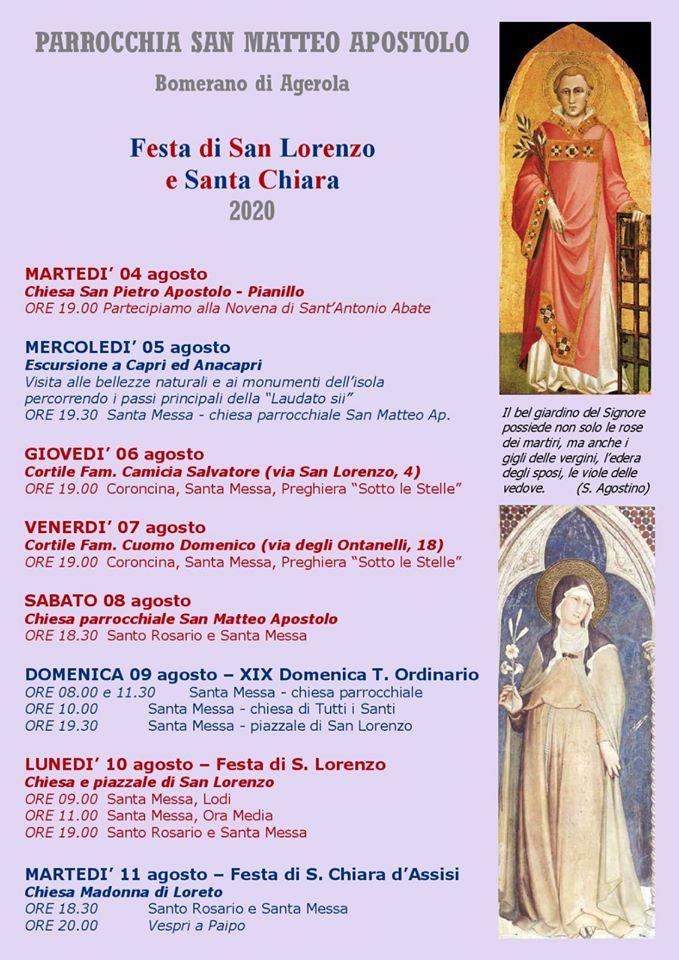 Parrocchia San Matteo Apostolo Bomerano – Agerola Festa di S. Lorenzo e S. Chiara 2020