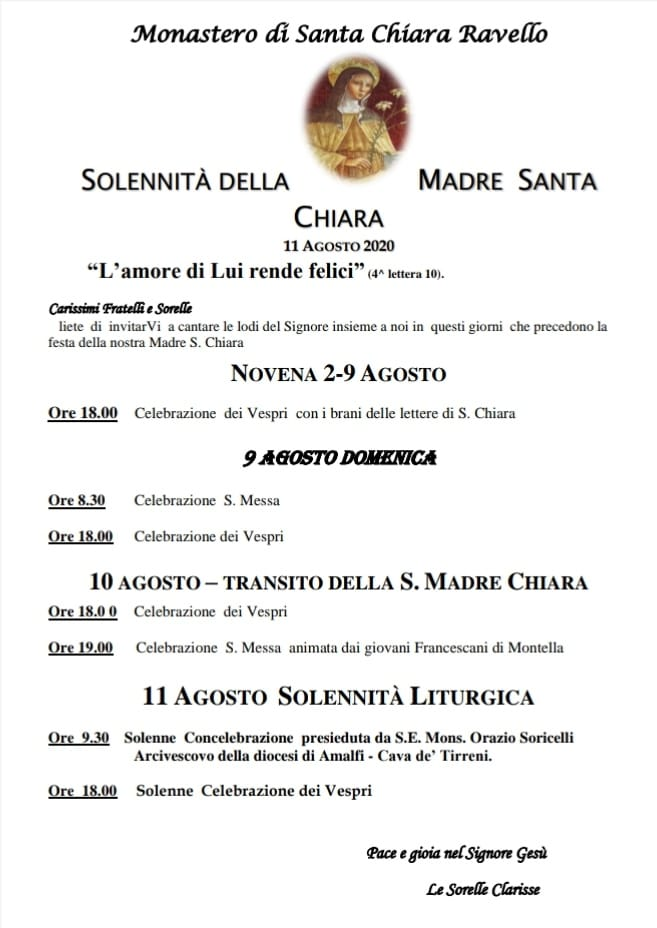"""Monastero di Santa Chiara – Ravello """"Solennità della Madre Santa Chiara"""""""