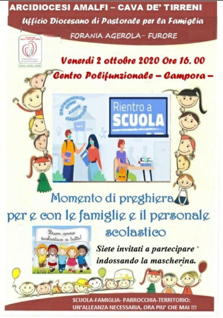 Ufficio Diocesano Pastorale Familiare Amalfi – Cava Forania Agerola – Furore Momento di preghiera per e con le famiglie e il personale scolastico