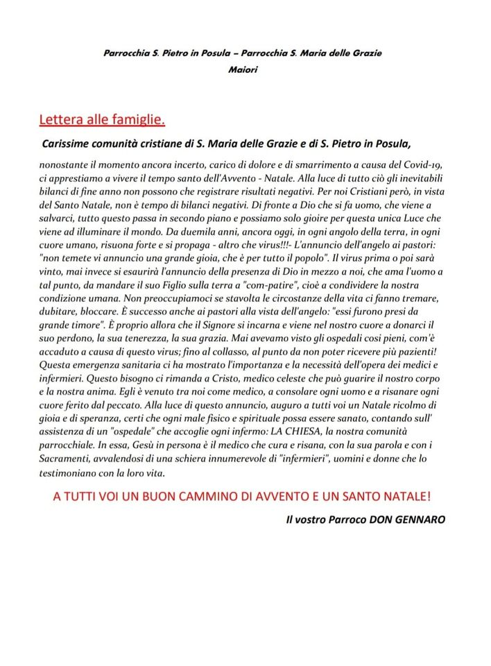 """""""Lettera alle Famiglie"""" Parrocchia S. Maria delle Grazie – Maiori Parrocchia San Pietro in Posula – Maiori"""