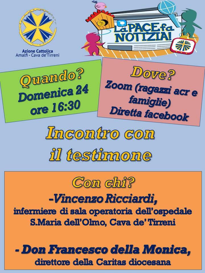 """Azione cattolica Amalfi – Cava – La pace fa notizia """"Incontro con il testimone"""""""