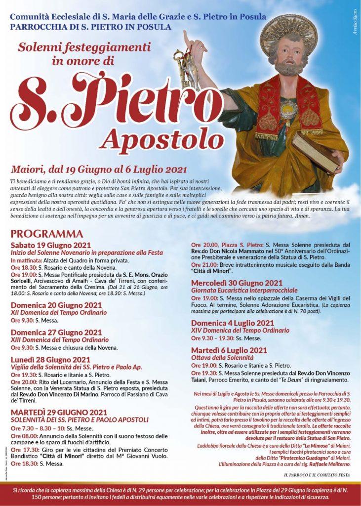 Comunità ecclesiale di S. Maria delle Grazie e  San Pietro in Posula. Maiori – Solenni Festeggiamenti in onore di S. Pietro Ap.