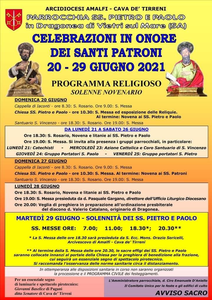 """Parrocchia SS. Pietro e Paolo """"Celebrazione in onore dei Santi Patroni"""""""