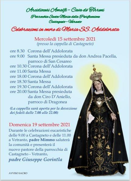 """Parrocchia S. Maria della Purificazione """"Celebrazioni in onore di Maria SS.Addolorata"""""""
