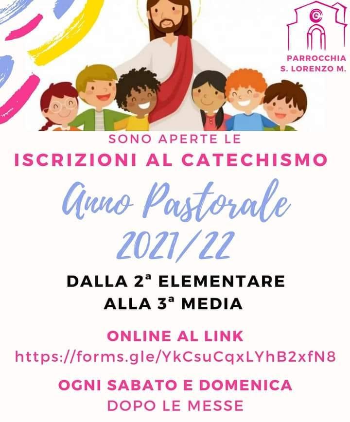 Parrocchia San Lorenzo M. – Iscrizione al catechismo Anno pastorale 2021-2022
