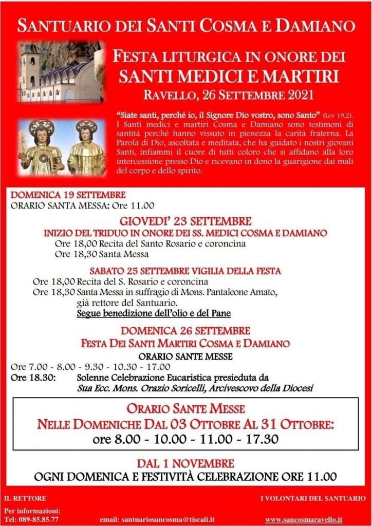 Parrocchia di S. Pietro alla Costa e S. Michele Arcangelo – Festa Liturgica dei S. Medici e Martiri