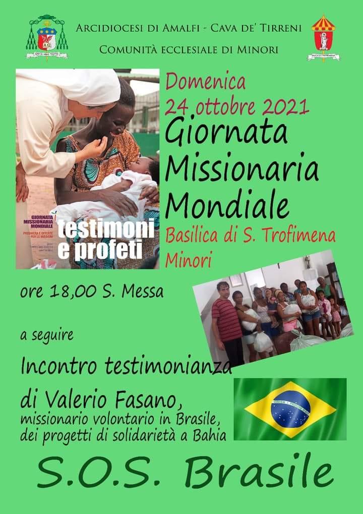 """Comunità Ecclesiale di Minori  – SOS  """"Brasile Incontro Testimonianza di Valerio Fasano"""""""